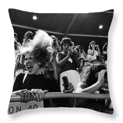 Beatles Concert Throw Pillow featuring the photograph Beatles Concert by Van D. Bucher