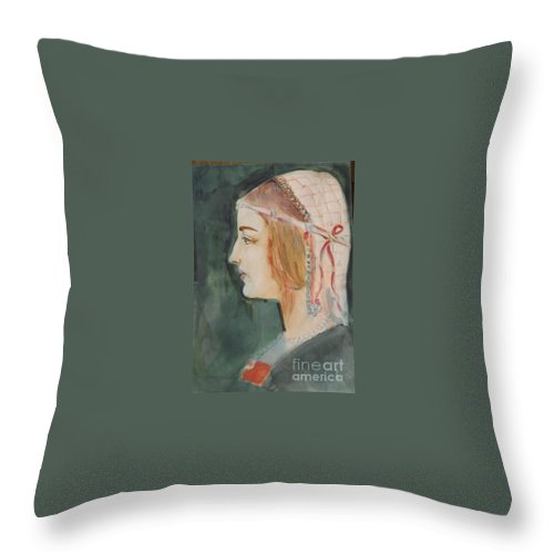 Beatrice D'este Throw Pillow featuring the painting Beatrice ... Sketch by Hedwig Pen