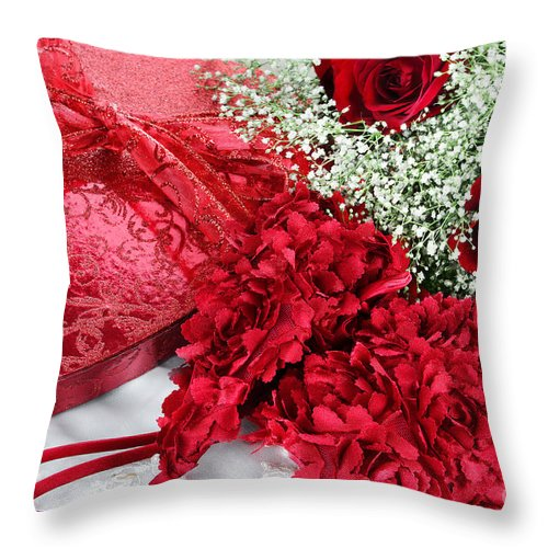 Valentine Throw Pillow featuring the photograph Beauitful Roses And Lingerie by Stephanie Frey