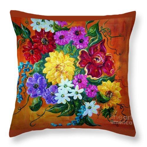 Flower Throw Pillow featuring the painting Beauties In Bloom by Eloise Schneider Mote