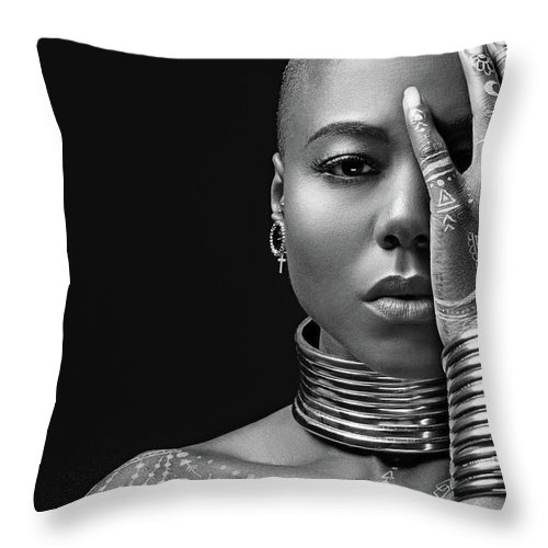 People Throw Pillow featuring the photograph Beautiful Black Woman Wearing Jewellery by Lorado