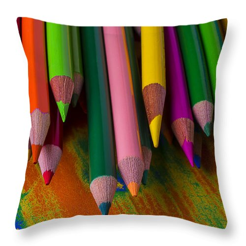 Colored Throw Pillow featuring the photograph Beautiful Colored Pencils by Garry Gay