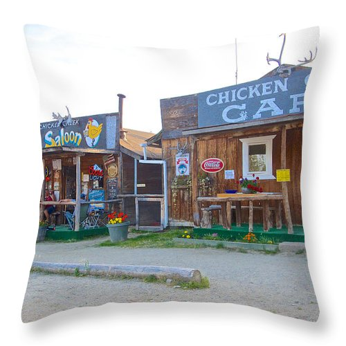 Beautiful Downtown Chicken Throw Pillow featuring the photograph Beautiful Downtown Chicken-alaska by Ruth Hager