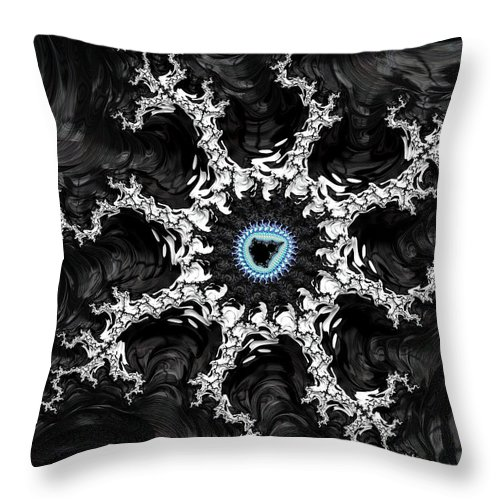 Fractal Throw Pillow featuring the digital art Beautiful Fractal Artwork Black White And Blue by Matthias Hauser