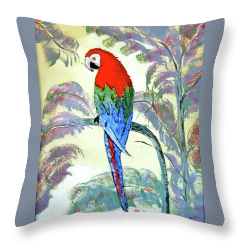 Red Throw Pillow featuring the painting Beautiful Parrot For Someone Special by Phyllis Kaltenbach