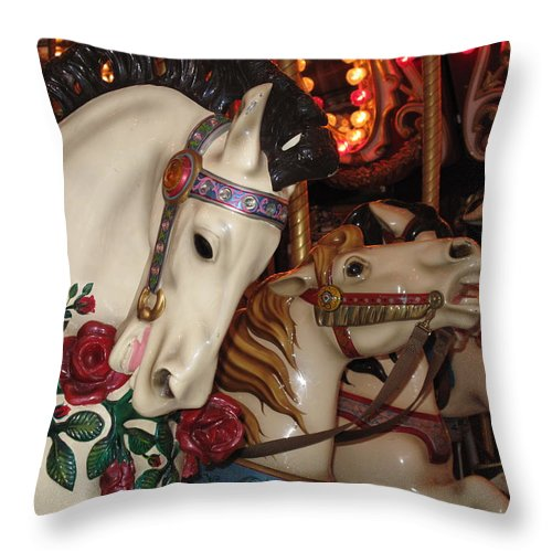 Carousel Throw Pillow featuring the photograph Beautiful Ponies Rwp Carousel by Barbara McDevitt