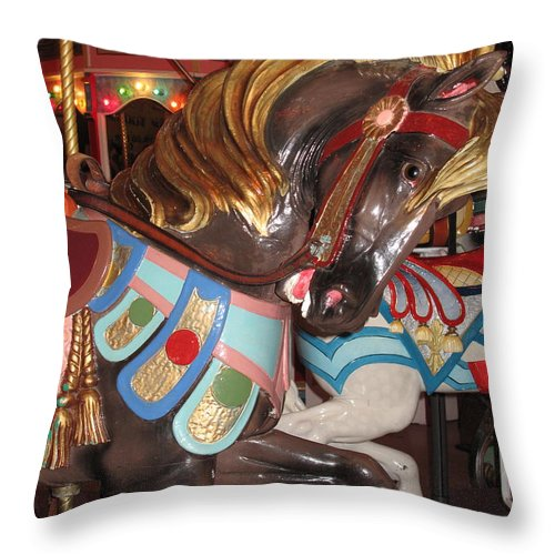 Carousel Throw Pillow featuring the photograph Beautiful Pony On The Happiness Machine by Barbara McDevitt