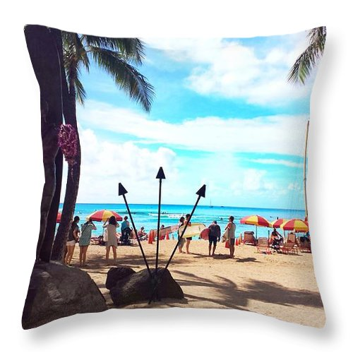 Sunny Day Throw Pillow featuring the photograph Beautiful Sunny Day So Let Get Some Tan by Tsieu Phang