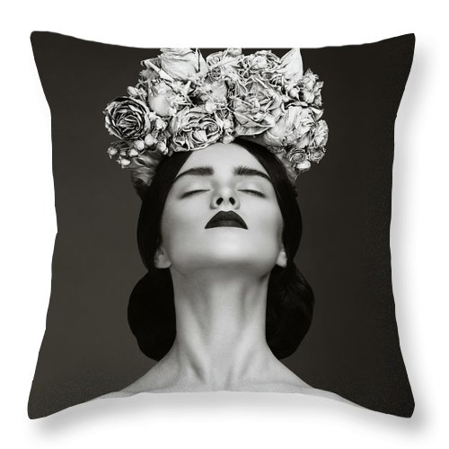 Crown Throw Pillow featuring the photograph Beautiful Woman With Wreath Of Flowers by Lambada