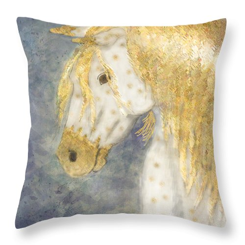 Nature Throw Pillow featuring the painting Beauty And Strength Golden Appaloosa by Debbie Portwood