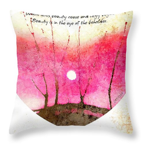 Eye Of The Beholder Throw Pillow featuring the digital art Beauty Ceases And Ugly Begins by Christine Nichols