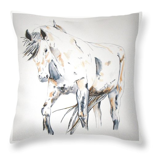 Horse Throw Pillow featuring the painting Beauty by Crystal Hubbard