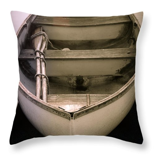 Row Boat Throw Pillow featuring the photograph Beauty In Stillness by Paula Apro