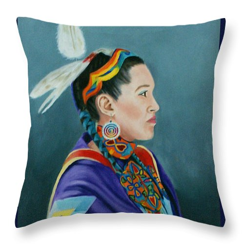 Native American Throw Pillow featuring the painting Beauty by Jill Ciccone Pike