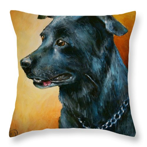 Pets Throw Pillow featuring the painting 'beaux' by Michael Lang