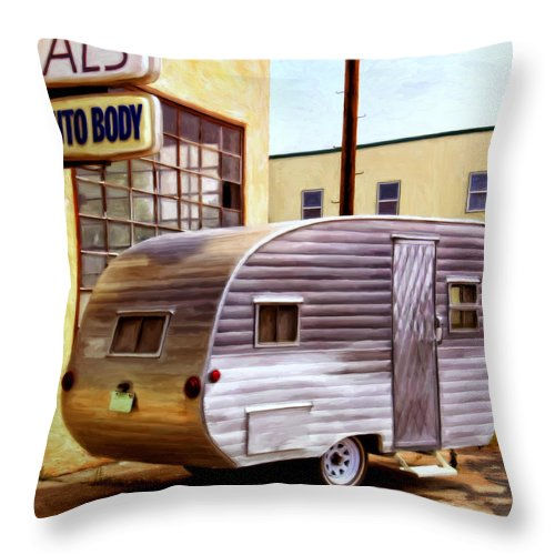 Vintage R.v. Canned Ham Travel Trailer Throw Pillow featuring the painting Becky's Vintage Travel Trailer by Michael Pickett