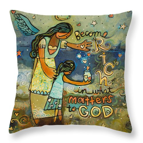 Jen Norton Throw Pillow featuring the painting Become Rich in what Matters to God by Jen Norton