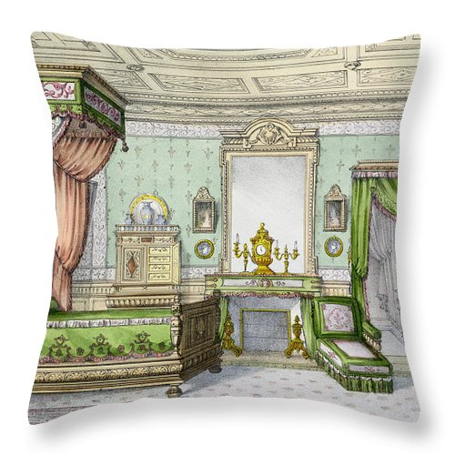 Interior Throw Pillow featuring the drawing Bedroom In The Renaissance Style by French School