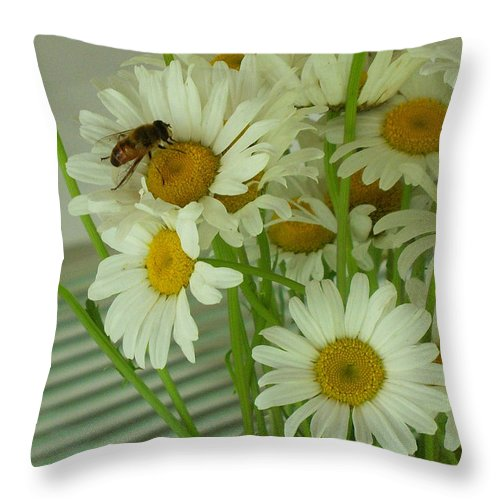 'flower Print Throw Pillow featuring the photograph Honey Bee On Daisy Print Photo For Sale by Diane Jorstad