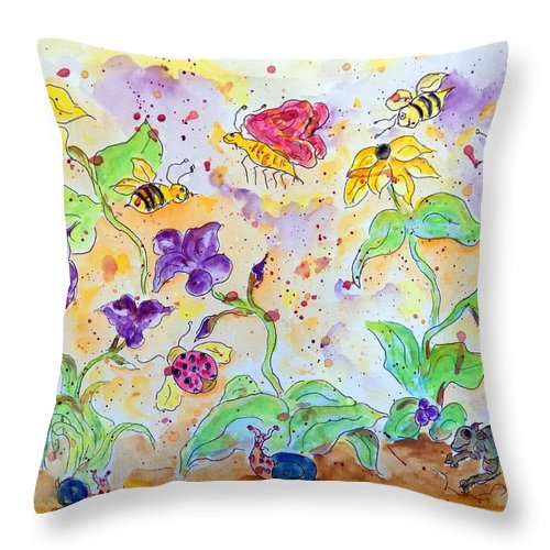 Throw Pillow featuring the painting Bee Season by Nicolas Segoviano