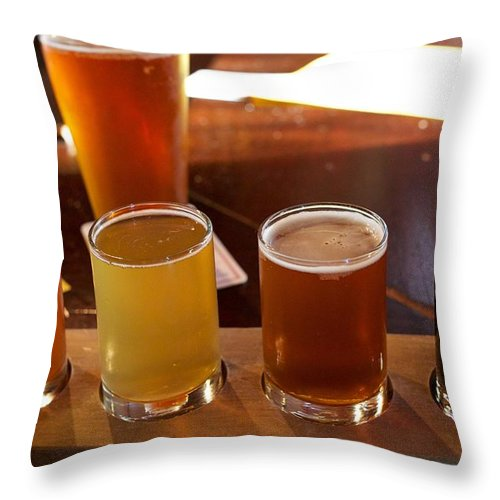 Microbrew Throw Pillow featuring the photograph Beer Sampler by Allan Morrison