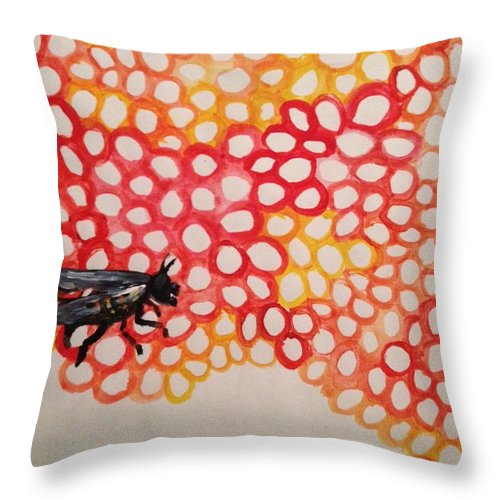 Bee Throw Pillow featuring the painting Beeswax by Nico Duncanson