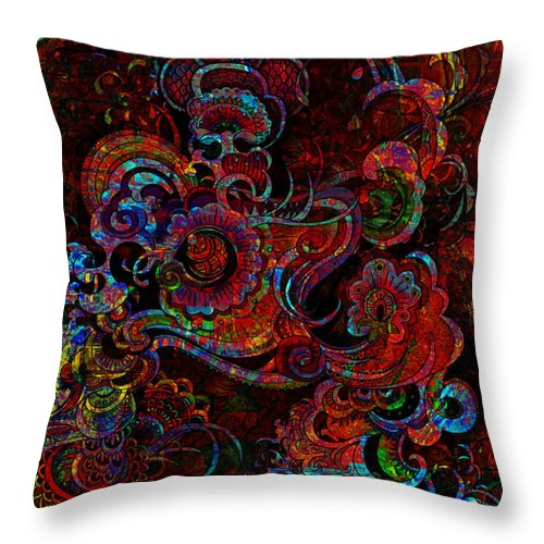 Digital Art Throw Pillow featuring the digital art Beethoven's Swirl Dancing by Mary Clanahan