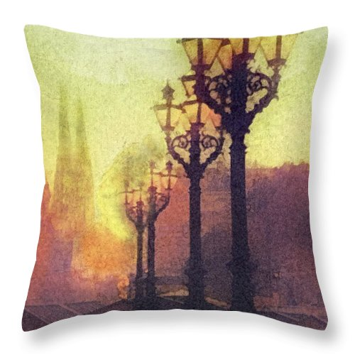 Before Sunrise Throw Pillow featuring the painting Before Sunrise by Mo T
