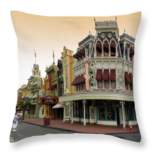 Magic Kingdom Throw Pillow featuring the photograph Before The Gates Open Early Morning Magic Kingdom With Castle. by Thomas Woolworth