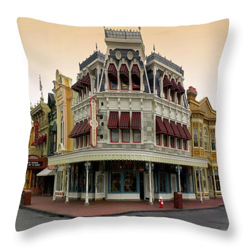 Magic Kingdom Throw Pillow featuring the photograph Before The Gates Open Magic Kingdom Main Street. by Thomas Woolworth