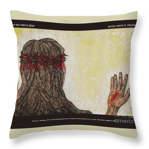 Jesus Throw Pillow featuring the painting Before The Mercy Seat by Kevin Montague