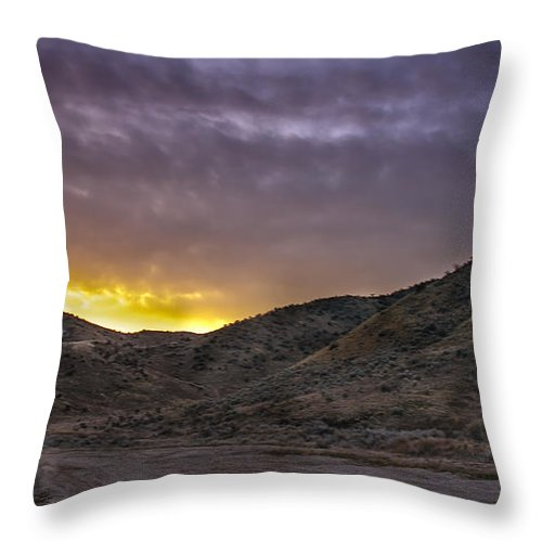 Yellow Throw Pillow featuring the photograph Before The Sun by Robert Bales