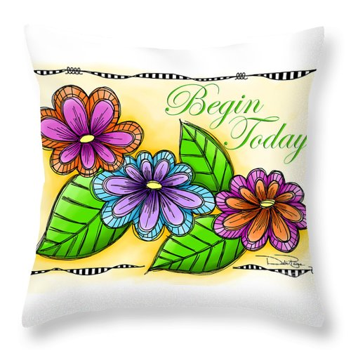 Whimsical Throw Pillow featuring the digital art Begin Today by Debi Payne