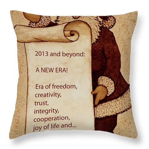 Santa Claus Throw Pillow featuring the painting Begining Of A New Era by Georgeta Blanaru