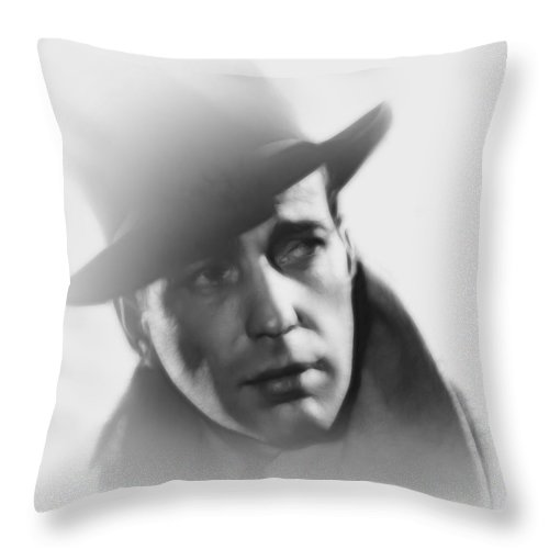 Humphrey Bogart Ingrid Bergmann Actor Actress Lover Lovers Couple Kiss Famous Rick Ilsa Casablanca 1942 Film Movie Pencil Drawing Vintage Portrait Face Beauty Sensual Throw Pillow featuring the painting Beginning Of A Beautiful Friendship by Steve K