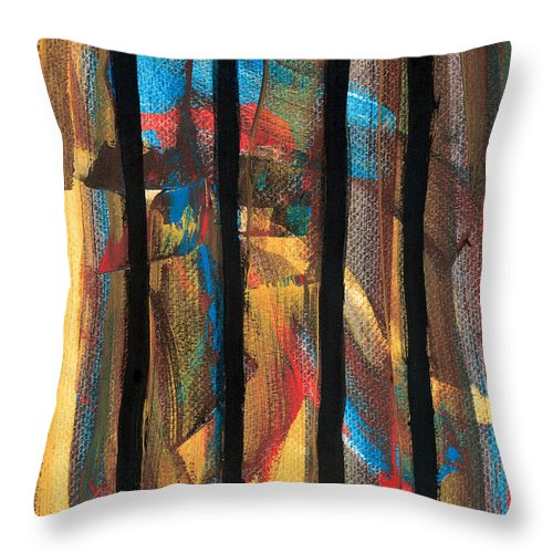 Contemporary Throw Pillow featuring the painting Behind Bars by Bjorn Sjogren