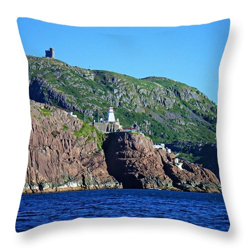 Behind Fort Amherst Rock Throw Pillow featuring the photograph Behind Fort Amherst Rock By Barbara Griffin by Barbara Griffin