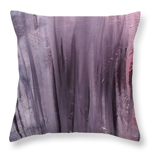 Abstract Throw Pillow featuring the painting Behind shadows by Sergey Bezhinets