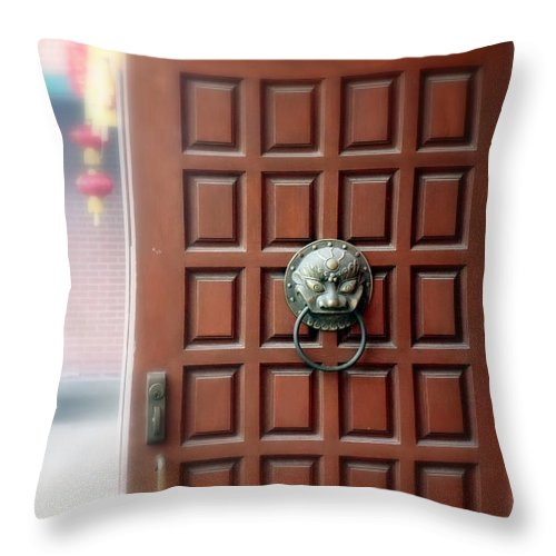 Temple Throw Pillow featuring the photograph Behind That Door by Valentino Visentini