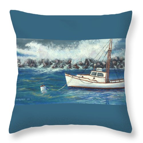Ocean Throw Pillow featuring the painting Behind The Breakwall by Jerry McElroy