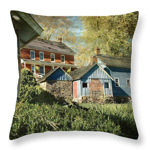 Farms Throw Pillow featuring the photograph Behind The Smokehouse by Fran J Scott