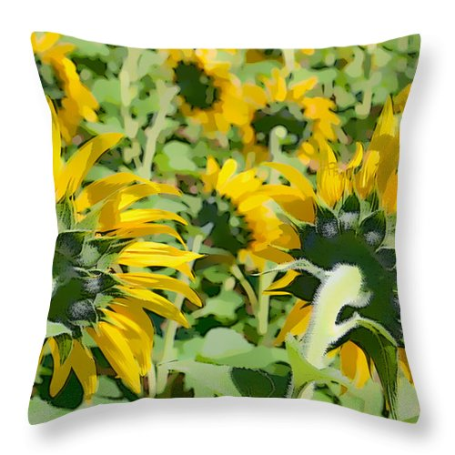 Sunflowers Throw Pillow featuring the photograph Behind The Sun by Alice Gipson