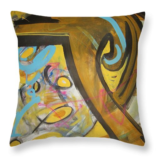 Abstract Throw Pillow featuring the painting Being Easy Original Abstract Colorful Figure Painting For Sale Yellow Umber Blue Pink by Seon-Jeong Kim