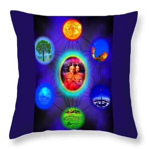 Elemental Throw Pillow featuring the digital art Life Force Connection by Debra MChelle