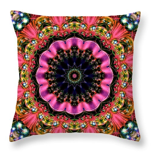 Kaleidoscope Throw Pillow featuring the digital art Bejewelled Mandala No 6 by Charmaine Zoe