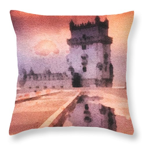 Belem Tower Throw Pillow featuring the painting Belem Tower by Mo T