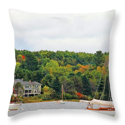 Belfast Maine Throw Pillow featuring the photograph Belfast Maine Harbor by Jack Schultz