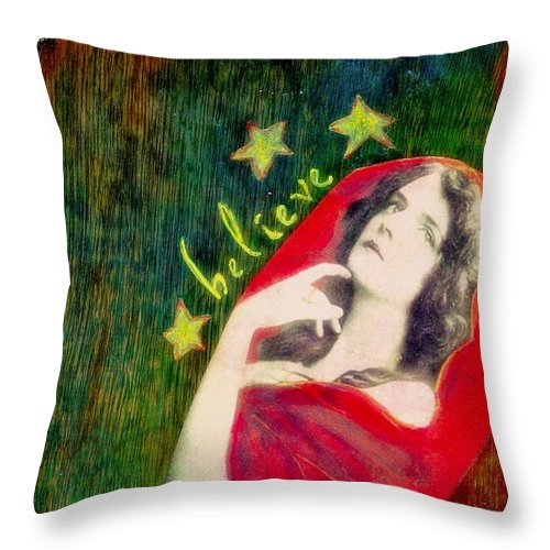 Inspirational Throw Pillow featuring the mixed media Believe by Desiree Paquette