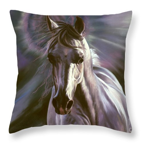 White Arabian Throw Pillow featuring the pastel Believe by Kim McElroy