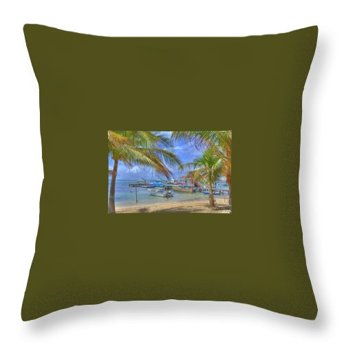 Belize Throw Pillow featuring the photograph Belize Hdr by Debby Richards